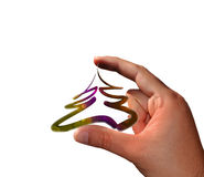 Hand with small Christmas tree Royalty Free Stock Images