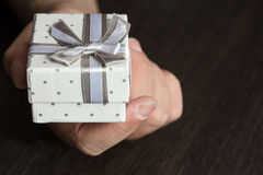 Hand with small present Stock Images
