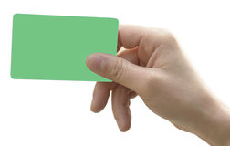 Hand with smart card. Asia woman hand with green credit or smart card on white background Stock Images
