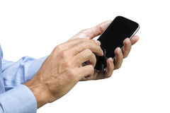 Hand on the smart phone. Close up of human hand touching smart phone display Stock Photos