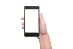 Hand with smart phone isolated, clippin path Stock Photography