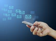 Hand smart phone sent e-mail Royalty Free Stock Photos