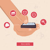Hand with the smart phone surrounded by icons Royalty Free Stock Photography