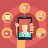Hand with smart phone - telemedicine concept Stock Photography