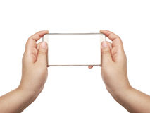 Hand with smart phone white screen isolated Royalty Free Stock Photo