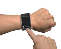 Hand with smart watch and finger touch screen Royalty Free Stock Images