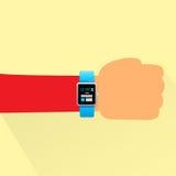 Hand Smart Watch Flat Design Shadow Vector Stock Image