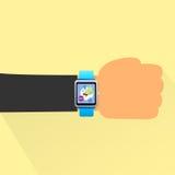 Hand smart watch flat design vector Stock Photo