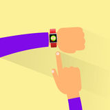 Hand smart watch flat design vector Royalty Free Stock Image