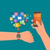 Hand with smart watch and smartphone. Vector illustration in flat style. Design elements, app icons Stock Images