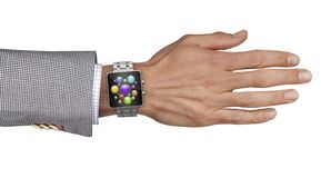 Hand with smart watch and touch screen Stock Images