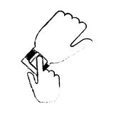 Hand with smart watch trendy wearable technology sketch. Illustration eps 10 Stock Photo