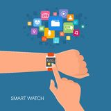 Hand with smart watch. Vector illustration in flat style. Design elements and app icons.  Stock Photography