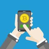 Hand Smartphone Bitcoin Click Flat Stock Image