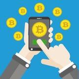 Hand Smartphone Bitcoins Click Flat Stock Photography