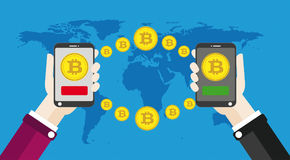 Hand Smartphone Bitcoins Click World Payment. Flat design with human hands, smartphones and golden bitcoins Royalty Free Stock Photos