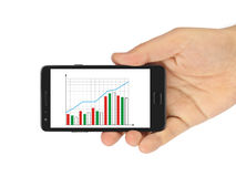 Hand with smartphone and business diagram Royalty Free Stock Photo