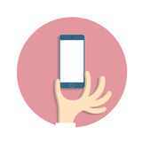 Hand with smartphone  in cartoon style. Vector EPS10 Stock Photos