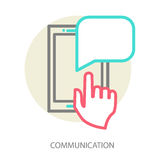 Hand and smartphone. Chat application template Royalty Free Stock Photo