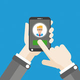 Hand Smartphone Click Add Man Royalty Free Stock Photography