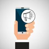 Hand smartphone digital marketing network social. Vector illustration eps 10 Royalty Free Stock Images