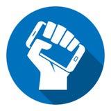 Hand smartphone digital revolution icon. Hand holding smartphone like call to digital revolution modern style icon stock illustration