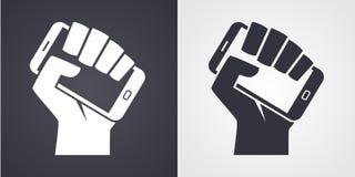 Hand smartphone digital revolution symbol icon. Hand holding smartphone like call to digital revolution icon royalty free illustration