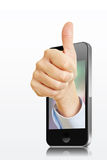 Hand in smartphone holding thumbs up Royalty Free Stock Image