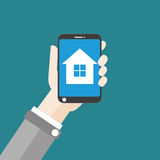 Hand Smartphone House Flat Design Royalty Free Stock Photos