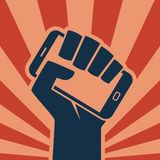 Hand smartphone icon digital revolution. Hand holding smartphone like call to digital revolution retro style icon royalty free illustration