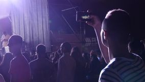 Hand With A Smartphone Infront Of Stage stock footage