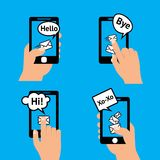 Hand smartphone message Stock Images