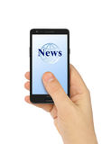 Hand with smartphone News Stock Image