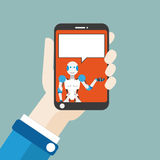 Hand Smartphone Robot Speech Bubble Flat Stock Photography