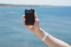Hand with smartphone self photographing Royalty Free Stock Images