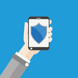 Hand Smartphone Shield Flat Royalty Free Stock Photos