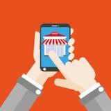 Hand Smartphone Shop Click Flat Royalty Free Stock Photos