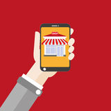 Hand Smartphone Shop Flat Royalty Free Stock Photography
