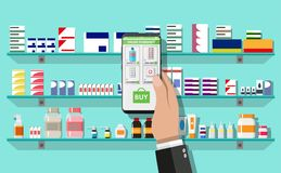 Online pharmacy or drugstore. Hand with smartphone with shopping app. Modern interior pharmacy or drugstore. Medicine pills capsules bottles vitamins and tablets Stock Images