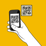 Hand with smartphone taking a QR code stock illustration