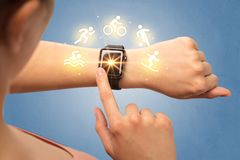 Hand with smartwatch. Female hand with smartwatch and sport concept Stock Photography