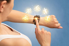 Hand with smartwatch. Female hand with smartwatch and sport concept Stock Photo