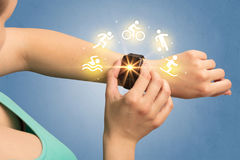 Hand with smartwatch. Female hand with smartwatch and sport concept Royalty Free Stock Image
