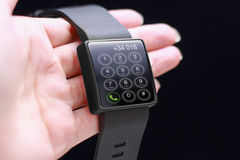 Hand with smartwatch Royalty Free Stock Image