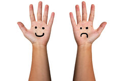 The hand smile and frown Stock Photo