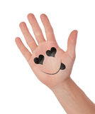 Hand with smiley isolated on white, concept of communication Royalty Free Stock Photography