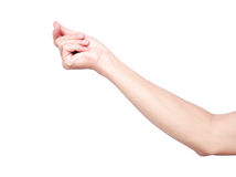 Hand snapping fingers isolate on white background with clipping