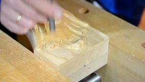 Hand-sniden wood närbild stock video