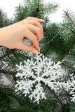Hand with snowflake Royalty Free Stock Images