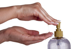 Hand soap with pumping lotion from bottle Royalty Free Stock Image